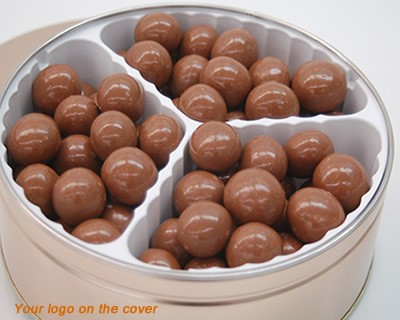 Milk Chocolate Malted Ball Tin With Logo