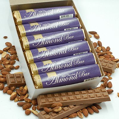 Milk Chocolate Almond Bars - by the case (24 Bars)