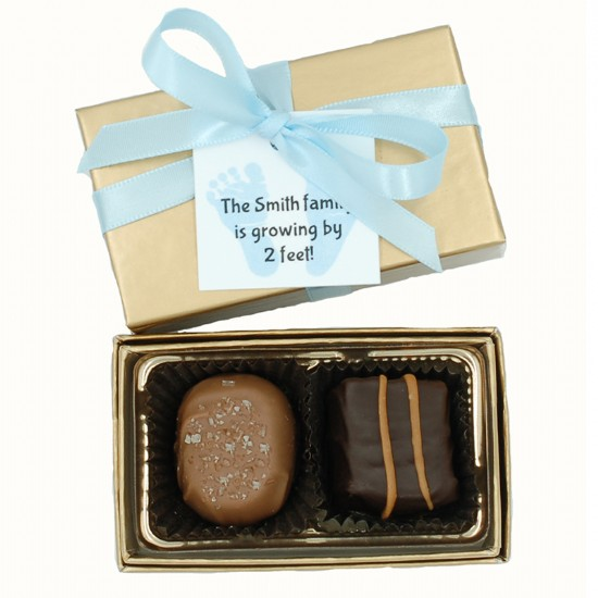 2 Piece Chocolate Assortment with Custom Tag