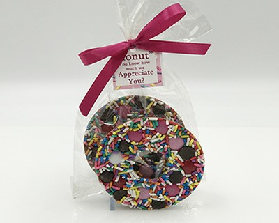 Chocolate Donut with Pink Toppings
