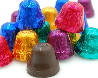 Dark Chocolate Foiled Bells 1 lb.