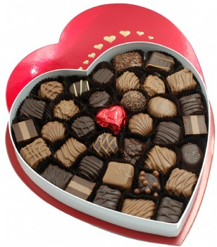 Chocolate Assortment in Red Heart Box 1 lb.