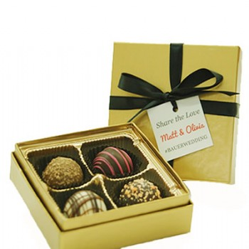 4 Piece Gourmet Truffle Box with Custom Tag
