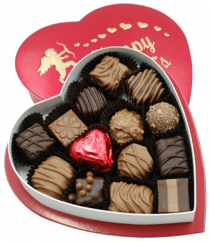 Chocolate Assortment in Red Heart Box 6 oz.