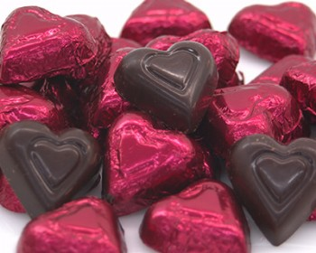 Dark Chocolate 72% Foiled Hearts